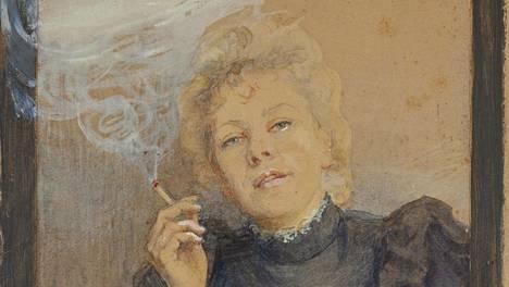 Dora Wahlroos: Omakuva, 1889, akvarelli ja guassi.