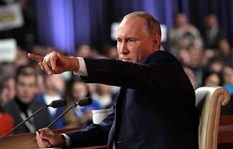 Venäjän presidentti Vladimir Putin piti vuotuisen lehdistötilaisuutensa Moskovassa.