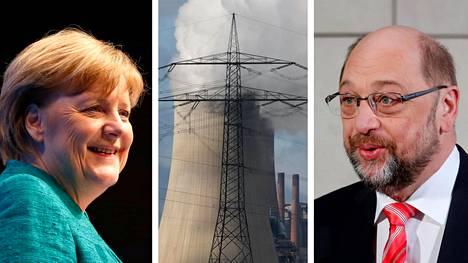 Angela Merkel ja Martin Schulz tunnustelevat mahdollisuuksia muodostaa Saksaan hallitus. Keskellä RWE-sähköyhtiön hiilivoimala Kölnin lähellä.