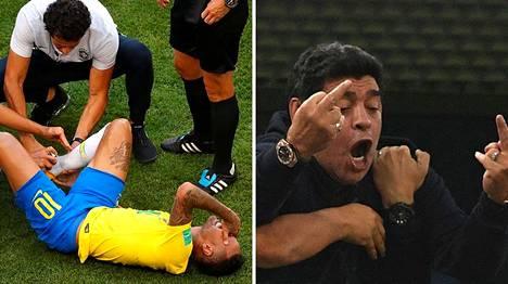Neymar (vas.) ja Diego Maradona ovat olleet nettimeemien aiheena.