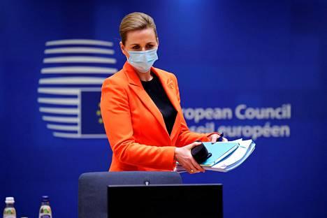 Tanskan pääministeri Mette Frederiksen osallistui Euroopan neuvoston kokoukseen Brysselissä joulukuussa.
