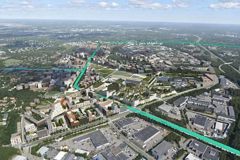 Pikaraitiotien on määrä yhdistää Malmin lentokentän alue Malmin keskustaan ja Viikkiin. Havainnekuvassa näkyy myös mahdollinen uusi raideyhteys Jakomäkeen.
