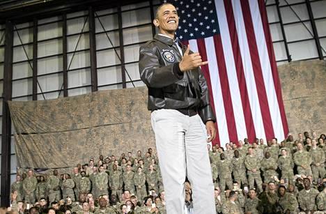 Presidentti Barack Obama vieraili Bagramin tukikohdassa Afganistanissa.