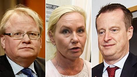 Ruotsin puolustusministeri Peter Hultqvist (vas.), infrastruktuuriministeri Anna Johansson ja sisäministeri Anders Ygeman.