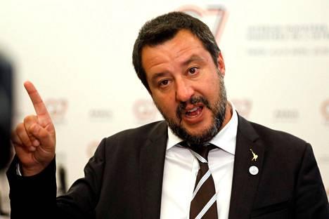 Italialaisen oikeistopopulistisen Lega-puolueen johtaja Matteo Salvini.