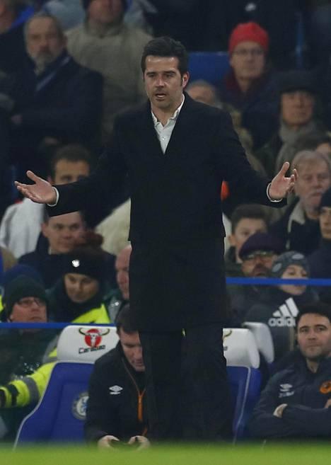 Hull Cityn valmentaja Marco Silva jakoi ohjeita pelaajilleen sunnuntain liigaottelussa.
