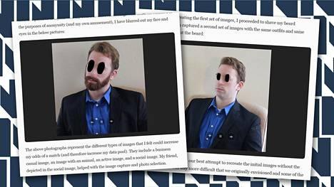 Tinder-profiilit olivat muuten samanlaiset, mutta toisessa miehellä oli parta ja toisessa ei. Mies on itse anonymisoinut kuvansa tummentamalla silmät ja suttaamalla nenän.