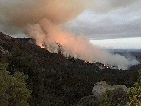 Vuorenrinne oli tulessa Sierra Nevadan kansallispuistossa Yhdysvaltain Kaliforniassa lauantaina. Laajat maastopalot ovat tehneet paljon tuhoa alueella viime päivien aikana.