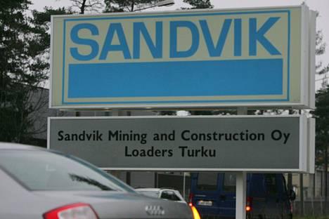 Kyltti Sandvikin Turun-tehtaalla.