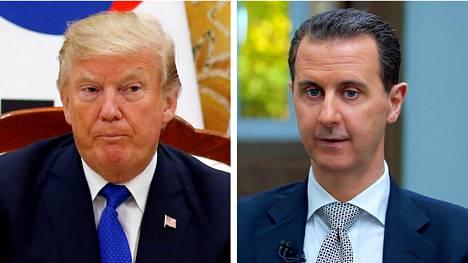 Yhdysvaltojen presidentti Donald Trump ja Syyrian presidentti Bashar al-Assad.