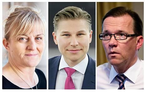 Pirkko Mattila (ps), Antti Häkkänen (kok) ja Timo V. Korhonen (kesk).