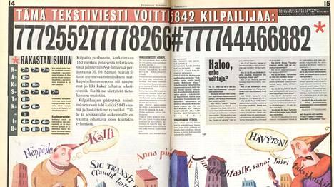 Vuoden 1998 Nyt-liitteessä valittiin paras tekstiviesti.