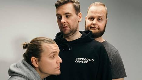 Markku Vilonen (vas.), Juha Ollikainen ja Tuomas Kauppinen ovat Korroosio Comedy.