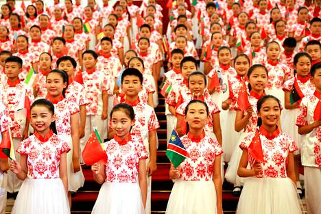 Chinese children will be practicing flag-raising for the Africa Cooperation Forum (FOCAC) summit in Beijing in 2018.
