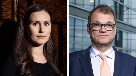 Suomen nykyinen pääministeri Sanna Marin (sd) ja entinen pääministeri Juha Sipilä (kesk).