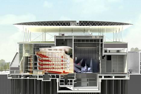 Arkkitehtitoimiston kuva Ateenaan rakennettavasta kultuurikeskuksesta.