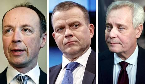 Perussuomalaisten puheenjohtaja Jussi Halla-aho, Kookoomuksen puheenjohtaja Petteri Orpo ja Sosiaalidemokraattien puheenjohtaja Antti Rinne.