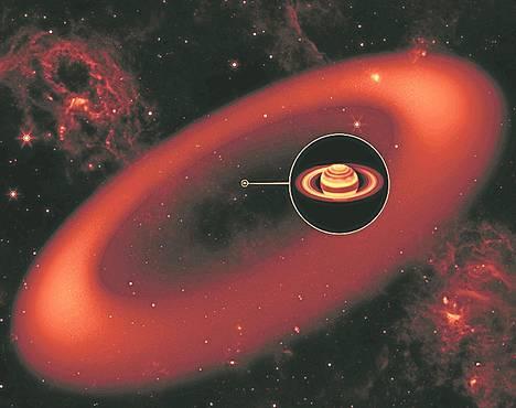Taiteilijan näkemys Saturnuksen jättirenkaasta. Se erottuu vain infrapunaa havainnoivalla kaukoputkella.