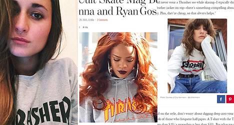 Thrasher-paita näkyy siellä täällä: insta-käyttäjä Signorinalinan (@signorinalina, vas.) ja Rihannan päällä, sekä Voguen muotikuvissa.