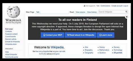 Uudistuksen vastustajiin kuuluu myös Wikipedia, joka mainosti sitä vastaan näyttävästi. Kuvakaappaus Wikipediasta.