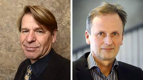 Britannian tiedeakatemian oikeustieteen tutkimusprofessori Martin Scheinin (vas.) ja Helsingin yliopiston rikosoikeuden professori Kimmo Nuotio.