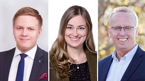 Henrik Vuornos (kok), Inka Hopsu (vihr) ja Markku Sistonen (sdp).