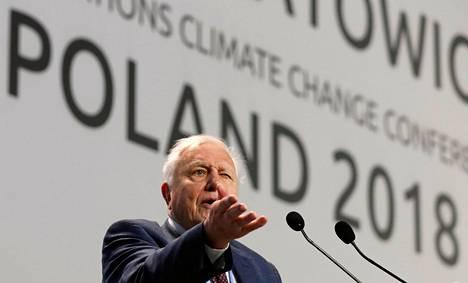 David Attenborough puhui Katowicen ilmastokokouksessa maanantaina.