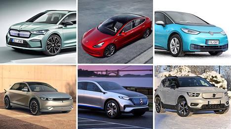 Skoda Enyaq(vas. ylärivi), Tesla 3, Volkswagen ID3, Hyundai Ioniq 5, Mercedes-Benz EQ ja Volvo XC40 Recharge.