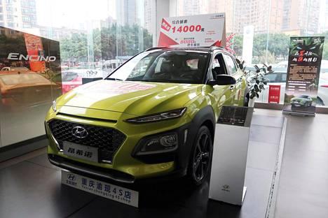 Autokauppa on hiljentynyt Kiinassa merkittävästi. Marraskuussa uusia autoja myytiin 14 prosenttia vähemmän kuin vuotta aiemmin. Hyundai-malli myynnissä autokaupassa Chongqingissa viime syksynä.
