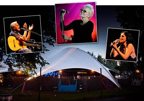 Huvila-teltta jää tänä vuonna haaveeksi. Kuvassa uudet albumit pian julkaiseva brasilialainen Caetano Veloso (vas.) ja Eva Dahlgren ja oikealla portugalilainen fadolaulaja Carla Pires.