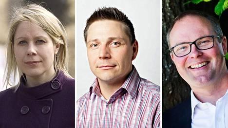 Tutkijat Laura Parkkinen, Taneli Lahti ja Juha Jokela