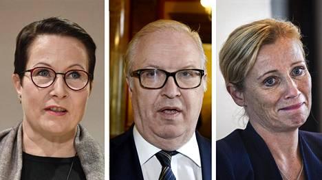 Telan Suvi-Anne Siimes (vas.), Akavan Sture Fjäder ja STTK:n Katarina Murto arvostelevat pääministeri Rinteen eläkeavausta kovin sanoin.