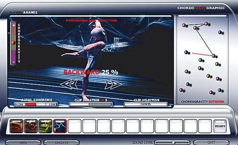 Katsoja voi toimia pelaaja-koreografina Mikko Kallisen tietokonepeli-installaatiossa Choreo/cut/graphic.