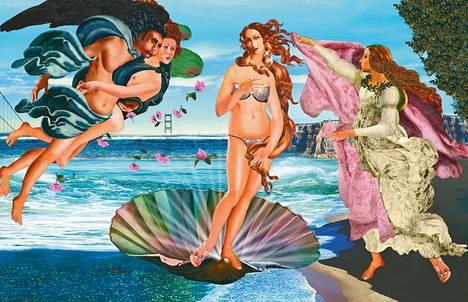 Tytti Heikkisen mielestä Botticellin Venuksen syntymä -maalausta voi tarkastella varhaisena mainoskuvana, jossa nuori nainen on sijoitettu maisemaan samoin kuin nykymainoksissa. Heikkinen rakensi omalle Venukselleen glitterbikinit. –Kirjan kuvitusta.