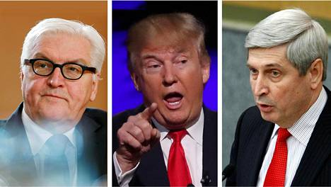 Saksan ulkoministeri Frank-Walter Steinmeier (vas.), Yhdysvaltain tuleva presidentti Donald Trump ja Venäjän duuman varapuheenjohtaja Ivan Melnikov.