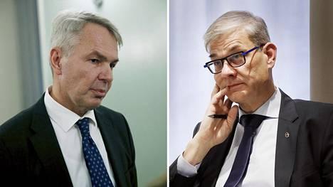 Ulkoministeri Pekka Haavisto (vas.) ja ulkoministeriön konsulipäällikkö Pasi Tuominen.