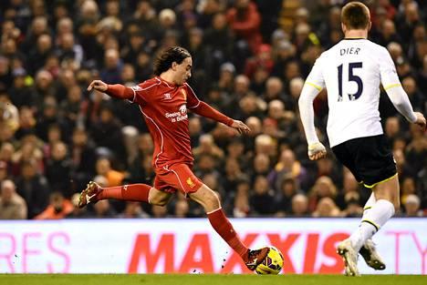 Lazar Markovic oli vauhdissa Valioliigan ottelussa Tottenhamia vastaan.