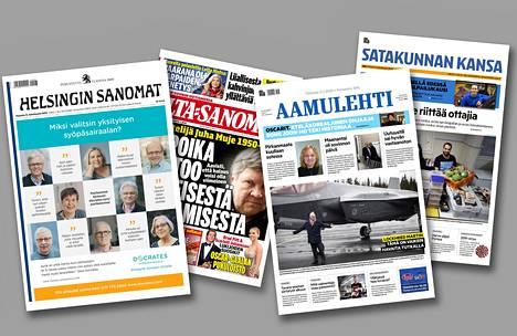 Sanoman suurimmat lehdet ovat Helsingin Sanomat ja Ilta-Sanomat. Alma Media Kustannuksen suurimmat lehdet ovat Tampereella ilmestyvä Aamulehti ja Porissa ilmestyvä Satakunnan Kansa.