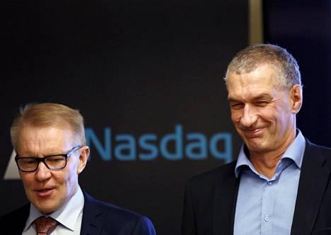 Lehto groupin toimitusjohtaja Hannu Lehto (vas.) ja hallituksen puheenjohtaja Pertti Huuskonen uskovat innovaatioihin rakennusalalla.