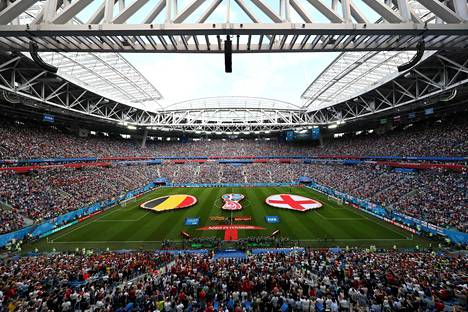 Krestovski-stadionille mahtuu 70000 katsojaa. Englanti ja Belgia pelasivat MM-kisojen pronssiottelun stadionilla 14. heinäkuuta 2018.