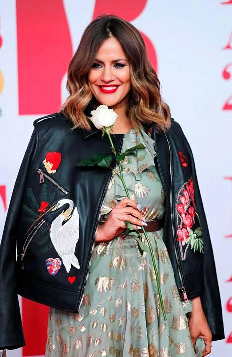 Televisiojuontaja Caroline Flack osallistui Brit Awards -gaalaan helmikuussa 2018.