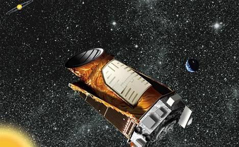 Taitelijan näkemys Kepler-avaruusteleskoopista, joka etsii planeettoja ulkoavaruudesta.