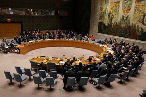Perjantain äänestyksen tuloksena Viro liittyy YK:n turvallisuusneuvostoon vuosiksi 2020–21. Kuvassa turvallisuusneuvoston istunto helmikuulta.