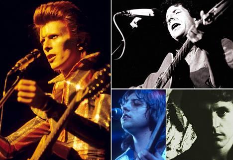 Jukka Koskelaisen teksteissä käsitellään edesmenneitä tähtiä: David Bowie (vas.), Leonard Cohen, Greg Lake ja Jack Bruce.