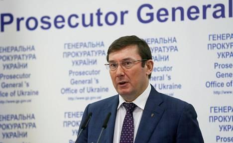 Ukrainan valtionsyyttäjä Juri Lutsenko puhui lehdistötilaisuudessa Kiovassa marraskuussa 2016.