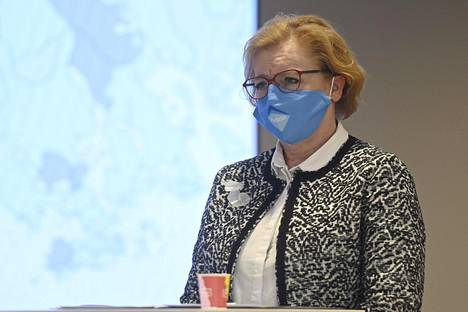 Vantaan kaupunginjohtaja Ritva Viljanen pääkaupunkiseudun koronakoordinaatioryhmän tiedotustilaisuudessa Helsingissä viime viikon perjantaina.