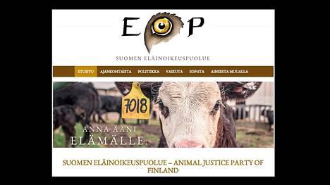Eläinoikeuspuolue on Suomen uusin puolue. Kuvakaappaus puolueen verkkosivulta.