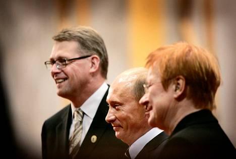 Pääministeri Matti Vanhanen ja presidentti Tarja Halonen vastaanottivat Vladimir Putinin EU:n huippukokouksessa Lahdessa 2006.
