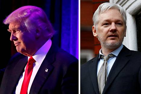 Tuleva presidentti Donald Trump (vas.) ja Wikileaksin perustaja Julian Assange löysivät toisensa hakkerointikohussa.