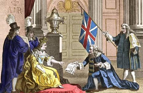 Kuningatar Anna (1665–1714) ottaa vastaan Englannin ja Skotlannin Britanniaksi yhdistävän vuoden 1707 unionilain skottilaiselta aatelismieheltä James Douglasilta. Unionilakiin vedottiin viimeksi kuluvalla viikolla Britannian korkeimmassa oikeudessa, kun tuomarit kuulivat todistelua siitä, kenellä on oikeus käynnistää Britannian EU-eroneuvottelut. Taidekaiverrus on vuodelta 1809.